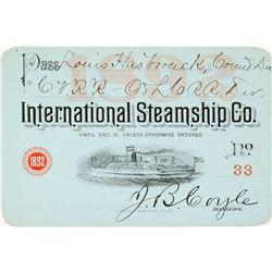 International Steamship Co. Annual Pass, 1892