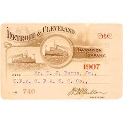 Detroit & Cleveland Navigation Co. Annual Pass, 1907