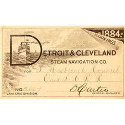 Detroit & Cleveland Steam Navigation Co. Annual Pass, 1884