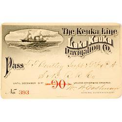 Lake Keuka Navigation Co. Annual Pass, 1890