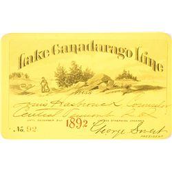 Lake Canadarago Line Annual Steamer Pass, 1892