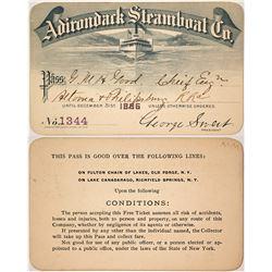 Adirondack Steamboat Co. Annual Pass, 1886