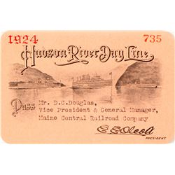 Hudson River Day Line Annual Pass, 1924