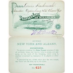 People's Line of Steamers Annual Pass, 1890