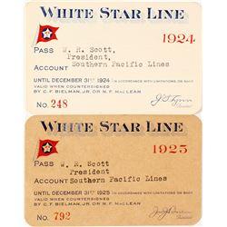 Two White Star Line Steamer Passes: 1924 & 1925