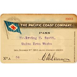 Pacific Coast Company Annual Steamer Pass, 1903