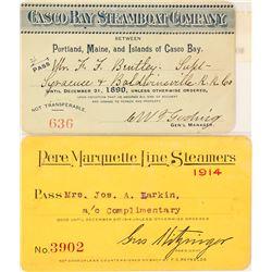 Two Steamer Line Annual Passes: Casco Bay and Pere Marquette