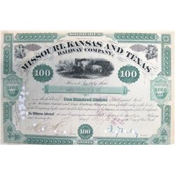 Missouri, Kansas & Texas Railway Stock Certificate Signed by Jay Gould
