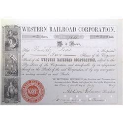Western Railroad Corporation Stock Certificate, 1847