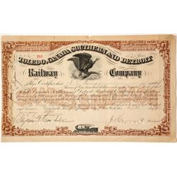 Toledo, Canada Southern and Detroit Railway Company Stock Certificate