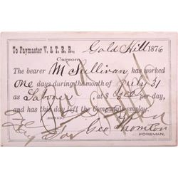 Rare Virginia & Truckee Railroad, Gold Hill Paycard