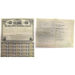 Blue Ridge Railroad Co. Bond signed by Henry Clews