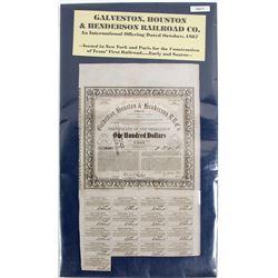 Galveston, Houston & Henderson Railroad Co. Certificate