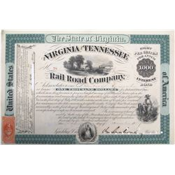 Virginia & Tennessee Railroad Co. Bond signed by Confederate General Mahone