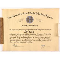 Retirement Certificate from the Atchison, Topeka & Santa Fe Railroad