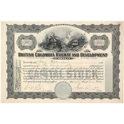 British Columbia Railway Stock Certificate