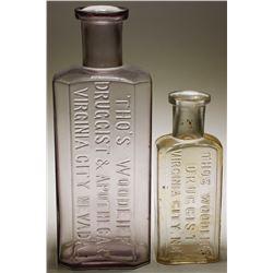 Tho's Woodliff  Druggist & Apothecary Bottles (2)