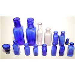 Cobalt Blue Medicine Bottle Grouping ( 15 Pieces )