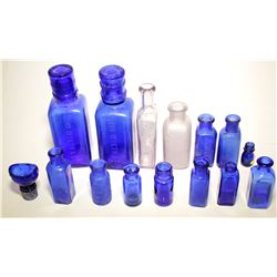 Cobalt Blue Medicine Bottle Grouping ( 15 Pieces )