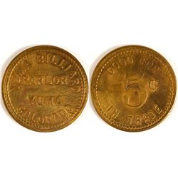 Yuma Billiard Parlor Token (Yuma, Colorado)