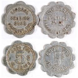 Liberal Reading Club Tokens (Beaumont, Texas)