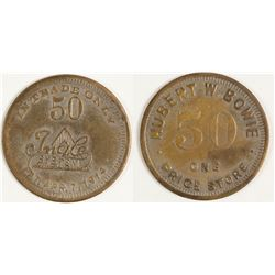 Hubert W. Bowie Token (Cedar Lane, Texas)
