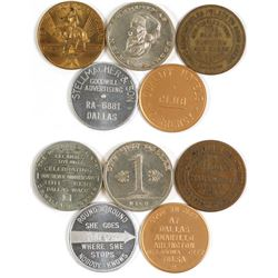 Five Assorted Dallas, Texas Tokens