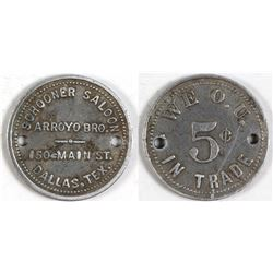 Schooner Saloon Token (Dallas, Texas)