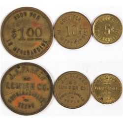 J.A. Parker Lumber Co. Tokens (Douglasville, Texas)