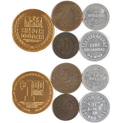 Five Various Houston, Texas Tokens