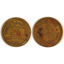 Edwin T. Smith Co. Token (Leonidas, Texas)