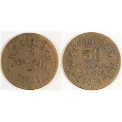 M. H. Reed & Co. Token (Marble Falls, Texas)