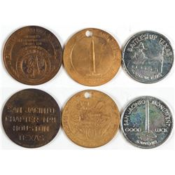 Three Veteran Labeled Tokens (San Jacinto, Texas)