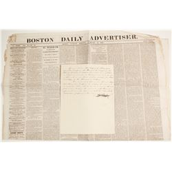 1868 Boston Newspaper with Feature Article on Impeachment of President Johnson