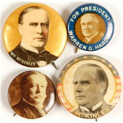 McKinley, Taft and Harding Buttons (4)