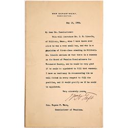 War Department Letter Signed by William H. Taft