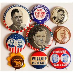 Roosevelt Era Political Buttons (8)