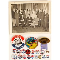 Richard Nixon Autographed Photo and Buttons