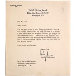 United States Senate Letter Signed by Lyndon B. Johnson