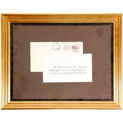 Framed JFK Era Presidential Cover and Card