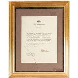 Framed Hubert Humphrey VP Letter