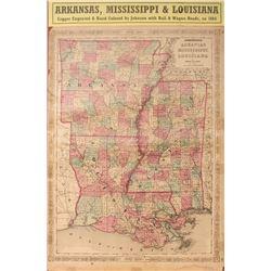 Civil War Map of Arkansas, Mississippi & Louisiana
