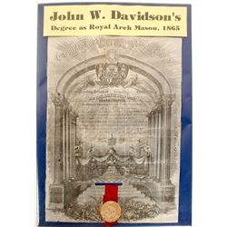 Major General John W. Davidson's Royal Arch Mason Certificate