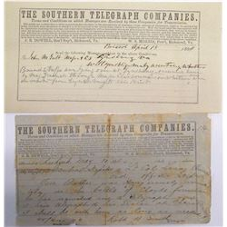 Two Southern Telegraph Co. Civil War Telegrams