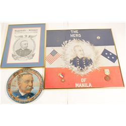 Admiral Dewey Prints (2) & Metal Tray