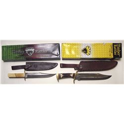 Two Timber Rattler Bowie Knives with Sheaths