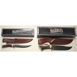 Two Marbel's Damascus Bowie Knives
