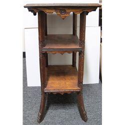 Small Oak Hallway Pedestal Shelf