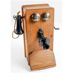 Vintage Oak Crank Telephone