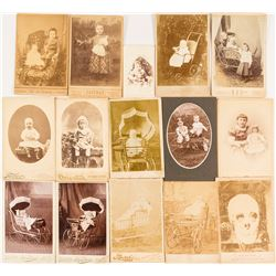 Collection of 15 Babies with Carriages Cabinet Cards